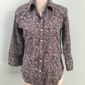 Coldwater Creek Navy & White Paisley Button Down